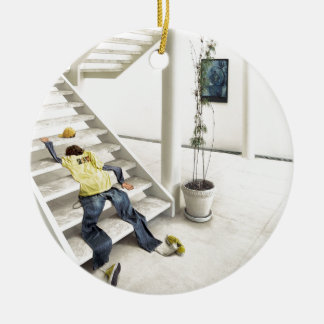 Abstract Everyday Climb Stairs Round Ceramic Decoration