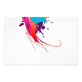 Abstract Exotic Butterfly Paint Splatters Stationery Paper