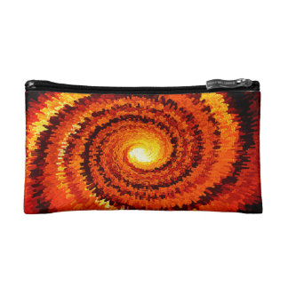 Abstract Expanding Yellow, Orange Spiral Makeup Bag