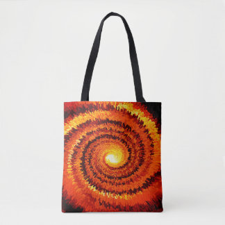 Abstract Expanding Yellow, Orange Spiral Tote Bag