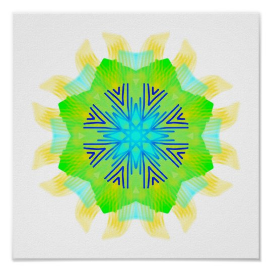 Abstract exploding green and blue flower poster