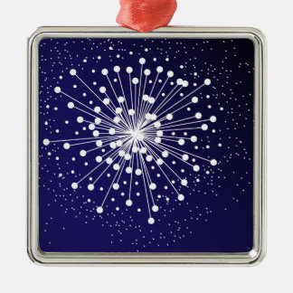 Abstract Explosion Silver-Colored Square Decoration