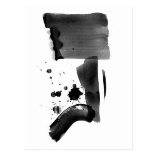Abstract Expressionism Black White Postcard