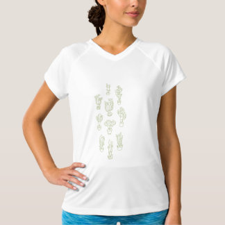 Abstract Expressionism Cactus Line Art Pattern T-Shirt