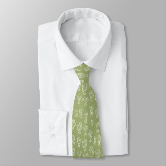 Abstract Expressionism Cactus Line Art Pattern Tie