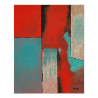 Abstract Expressionist Art Painting Red Turquoise Poster