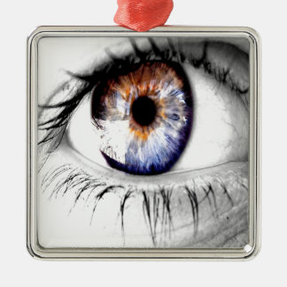 Abstract Eye Wide Open Silver-Colored Square Decoration