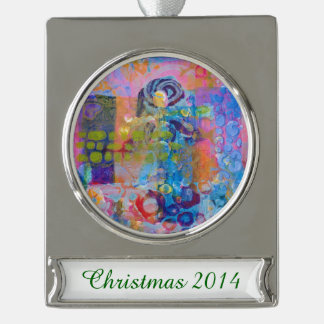 Abstract Fabric Print Silver Plated Banner Ornament