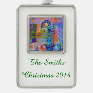 Abstract Fabric Print Silver Plated Framed Ornament