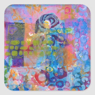 Abstract Fabric Print Square Sticker