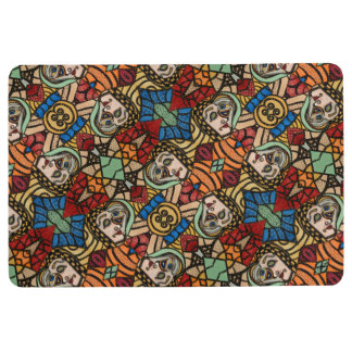 Abstract Faces Pattern Floor Mat