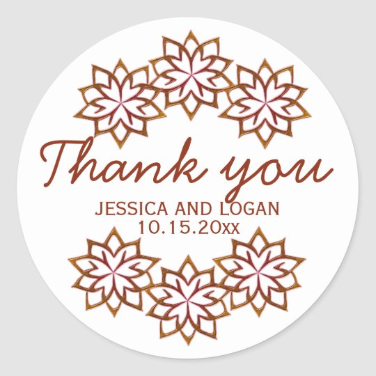 Abstract Fall Flowers Copper Red, Wedding Stickers