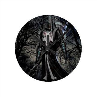 Abstract Fantasy Black Knight Plague Round Clock