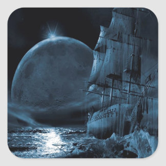 Abstract Fantasy Dark Ship Eclipse Square Sticker