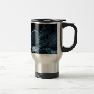 Abstract Fantasy Dark Ship Eclipse Travel Mug