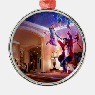 Abstract Fantasy Peter Pan Celebration Silver-Colored Round Decoration