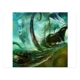Abstract Fantasy Pirates Nightmare Treasure Postcard
