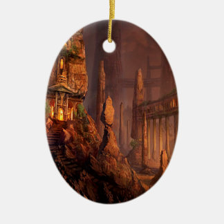 Abstract Fantasy Temple Of Fire Ceramic Oval Decoration