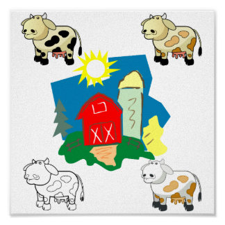 Abstract Farm and Cartoon Cows Canvas Pring Posters