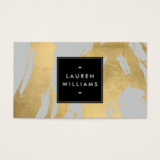 Abstract Faux Gold Brushstrokes on Gray Business Card