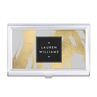 Abstract Faux Gold Brushstrokes on Gray Business Card Holder