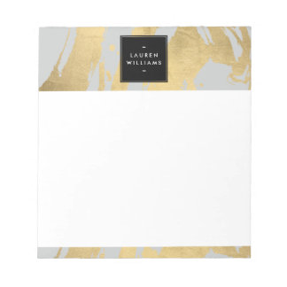 Abstract Faux Gold Brushstrokes on Gray Notepad