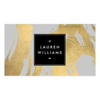 Abstract Faux Gold Brushstrokes on Gray Pack Of Standard Business Cards