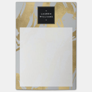 Abstract Faux Gold Brushstrokes on Gray Post-it Notes