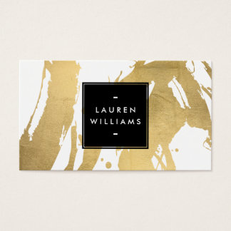 Abstract Faux Gold Brushstrokes on White