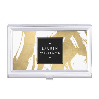 Abstract Faux Gold Brushstrokes on White Business Card Holder