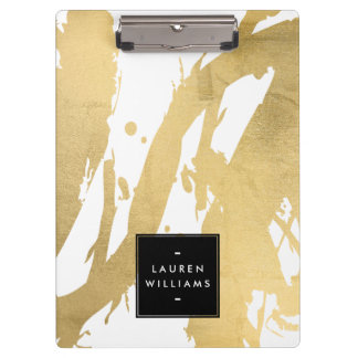 Abstract Faux Gold Brushstrokes on White Clipboard