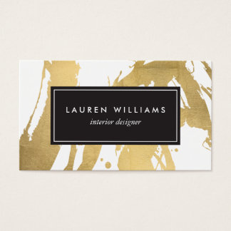 Abstract Faux Gold Brushstrokes on White II Business Card