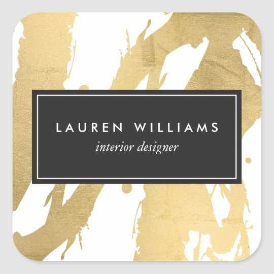 Abstract Faux Gold Brushstrokes on White II Square