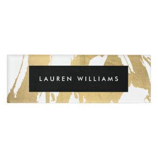 Abstract Faux Gold Brushstrokes on White Name Tag