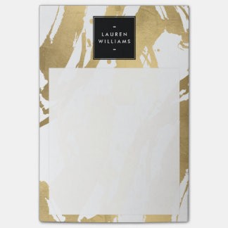 Abstract Faux Gold Brushstrokes on White Post-it Notes