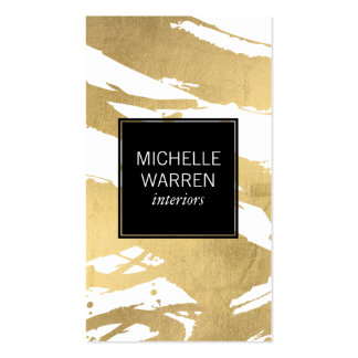 Abstract Faux Gold Foil Brushstrokes Designer Pack Of Standard Business Cards