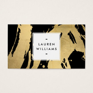 Abstract Faux Gold Foil Brushstrokes on Black