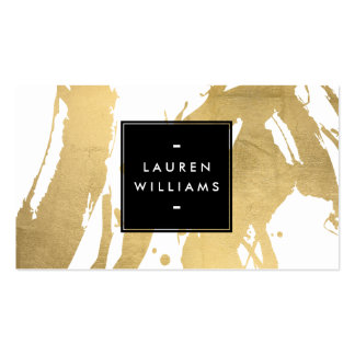 Abstract Faux Gold Foil Brushstrokes on White Pack Of Standard Business Cards