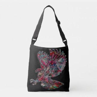 Abstract Faux Metallic Tribal Eagle Crossbody Bag