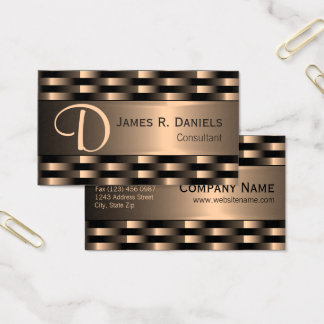 Abstract Faux Red Copper Metallic Weave Pattern Business Card