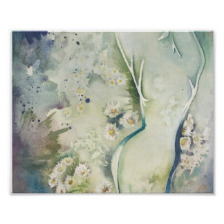 Abstract Feminine Floral in Green Poster
