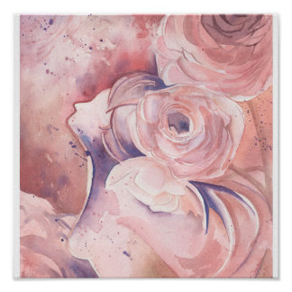 Abstract Feminine Floral in Pink Poster