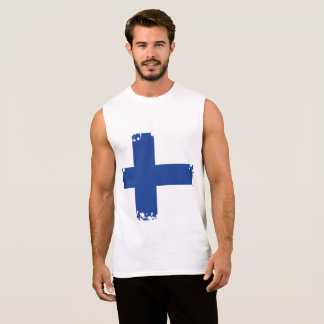 Abstract Finland Flag, Finnish Colors Sleeveless Shirt