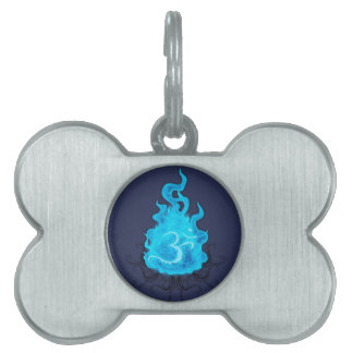 Abstract Fire Blue Flame Pet Name Tag
