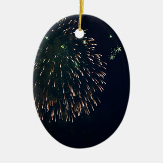 Abstract Fireworks Green Chandelere Ceramic Oval Decoration