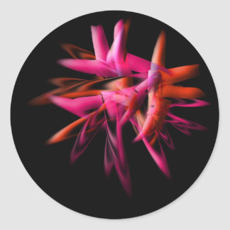 abstract flame red classic round sticker