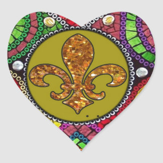 Abstract Fleur De Lis Tile mosaic Colorful Heart Sticker