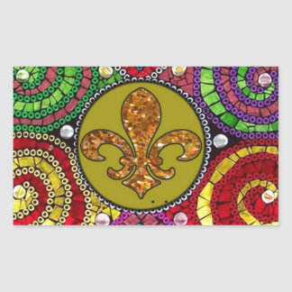 Abstract Fleur De Lis Tile mosaic Colorful Rectangular Sticker