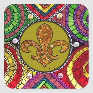 Abstract Fleur De Lis Tile mosaic Colorful Square Sticker