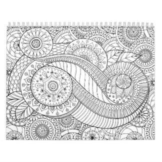 abstract floral adult coloring Calendar
